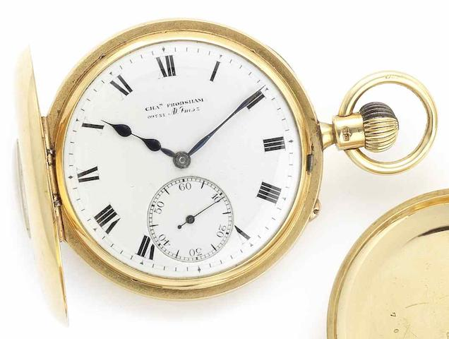 Charles Frodsham. An early 20th century 18ct gold keyless wind half hunter pocket watchLondon Hallmark for 1917