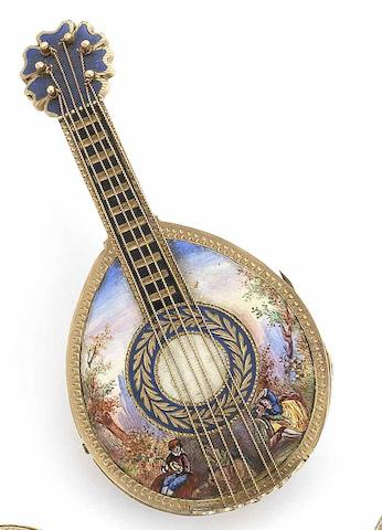 Dupont, Geneva. A fine and rare late 18th century key wound enamel pocket watch in the form of a mandolinCirca 1795