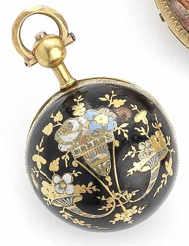 Esquivillon & De Choudens, Paris. An early 19th century enamel set spherical watch Numbered 26663, Circa 1810