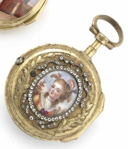 Gilbert, Paris. An early 18th century gilt metal open face pocket watch with porcelain portrait Circa 1760