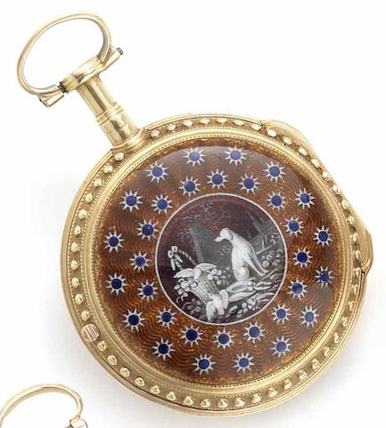 Louis Truitte, Berlin. A late 18th century gold and enamel open face pocket watch Numbered 13492, Circa 1780