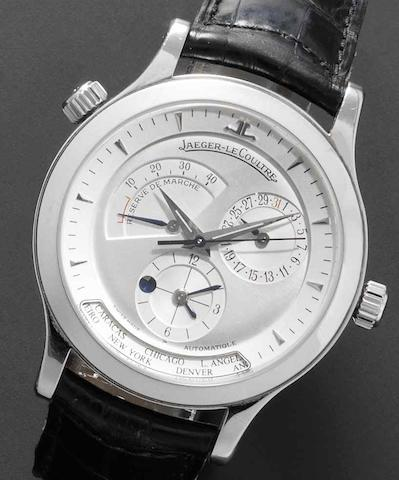 Jaeger-LeCoultre. A stainless steel automatic calendar wristwatch with world time Master Control 1000 Hours, Ref:142.8.92, Case No.2810, Movement No.2911033, Circa 1999