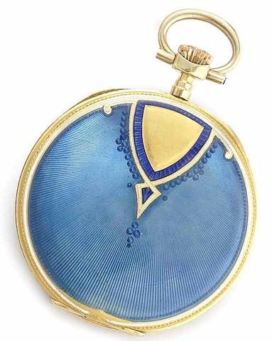 Swiss. An 18ct gold blue enamel manual wind open face pocket watchCase No.33249, Glasgow Import mark for 1911