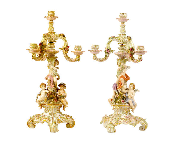 A pair of Meissen four-light candelabra, second half of 19th century