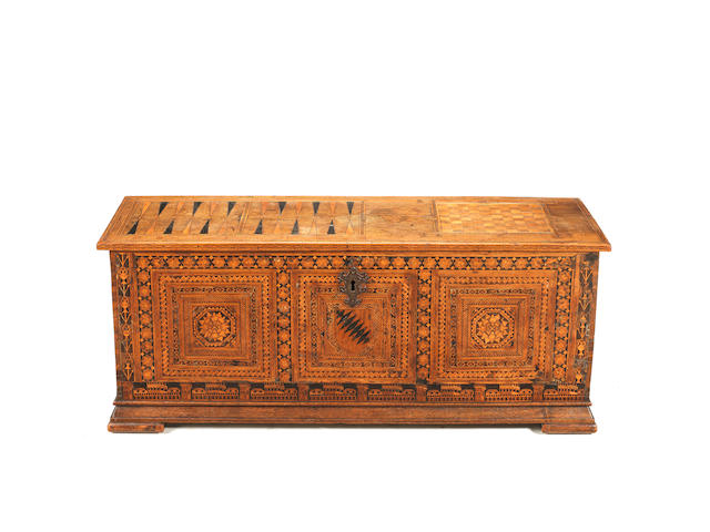 "An Italian 16th century walnut, ebony and fruitwood ""alla certosina"" type marquetry chest"