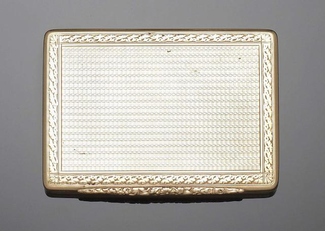 A Hungarian gold cigarette box Maker's mark overstruck J?, with 580 standard mark for Vienna 1922-37