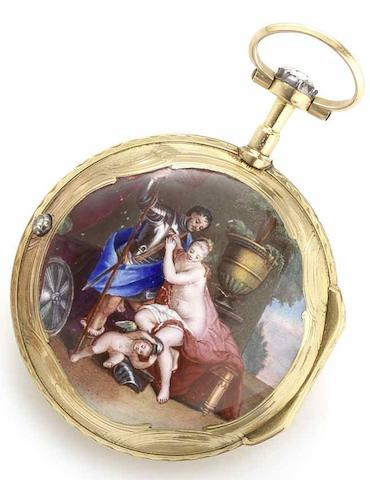 Ageron, Paris. A late 18th century continental gold, diamond and enamel set open face pocket watch