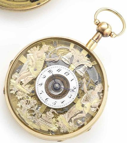 Swiss. An 18ct gold quarter repeating open face Jaquemart pocket watchCirca 1790