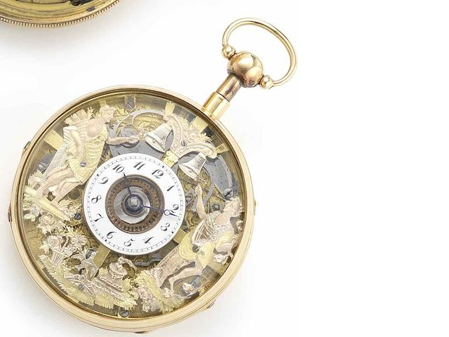 Swiss. An 18ct gold quarter repeating open face Jaquemart pocket watch Circa 1790
