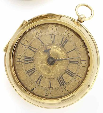Bouquet. A fine and rare early 18th century 22ct gold pair case pocket watchCirca 1710