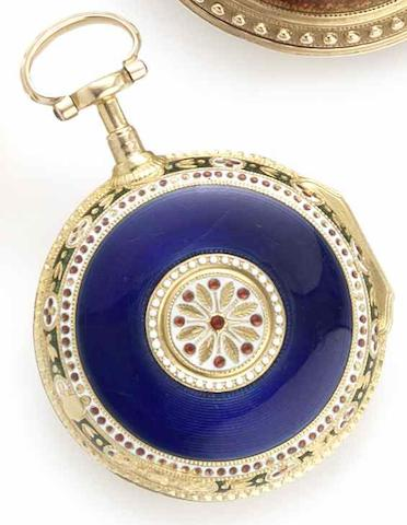 Jeffreys & Jones. A gold and enamel pair case pocket watch with outer glass caseCase No.1098, Movement No.1255, Circa 1795