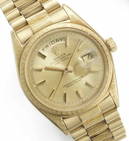 Rolex. An 18ct gold automatic bracelet watch Day-Date, Ref:1806, Serial No.1038***, Movement No.DD76723, Circa 1955