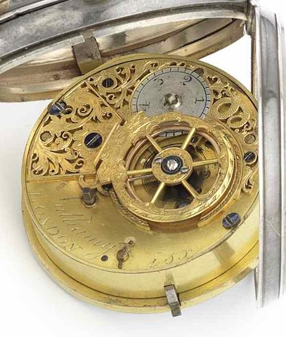 Vuilliamy. A silver open face pocket watch in later caseCirca 1795