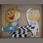 A pair of hand-painted Esso wooden cut-out display figures,