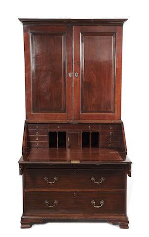 A George III mahogany bureau cabinet