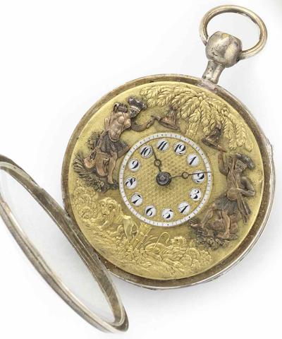 Esquivillon & De Choudens. A silver case quarter repeating Jacquemart pocket watchCirca 1810