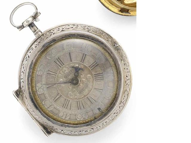 Peter Paul Gutwein. A fine and rare early 18th century silver pair case clock watch Circa 1710
