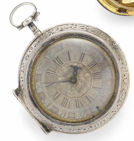 Peter Paul Gutwein. A fine and rare early 18th century silver pair case clock watchCirca 1710