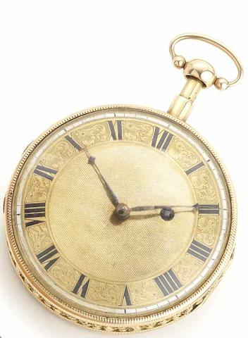 Swiss. A gold open face minute repeating pocket watchCirca 1860