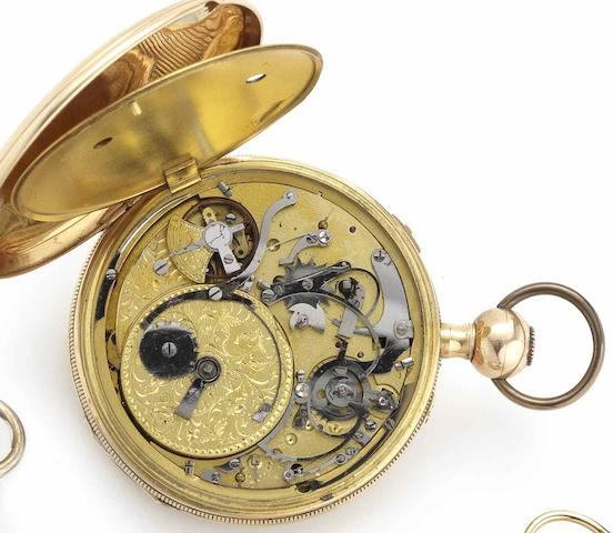Swiss. An 18ct gold key wound open face musical pocket watchCirca 1810