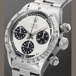 Rolex. A fine and rare stainless steel manual wind chronograph bracelet watch 'Paul Newman,' Oyster Cosmograph, Ref:6265, Serial No.2921***, Circa 1971
