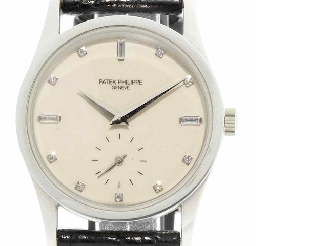 Patek Philippe. A fine and rare platinum and diamond set manual wind wristwatch Ref:3796, Movement No.1839733, Case No.2943742, Circa 1990