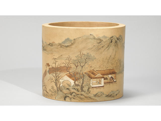 An Yixing stoneware slip-decorated brushpot Qianlong, signed Yang Jichu