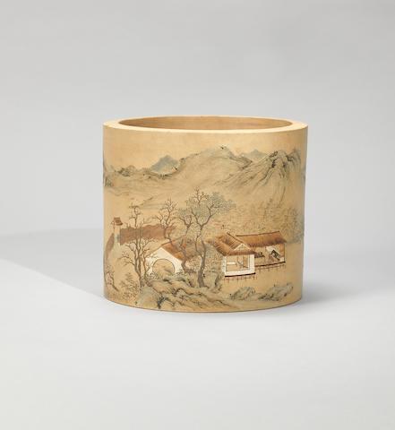 An Yixing stoneware slip-decorated brushpot Qianlong, signed Yang Jichu