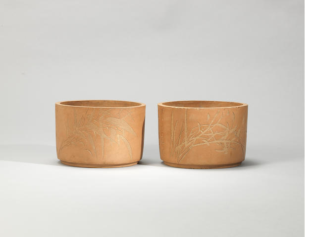 Two Yixing stoneware flowerpots Qing dynasty, incised by Qing Jiang