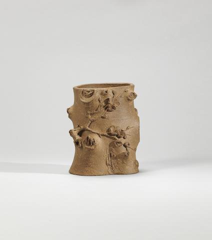 An Yixing stoneware 'plum blossom' brushpot Signed Junmei