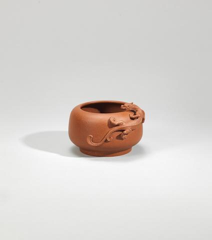 An Yixing stoneware 'chi dragon' brushwasher Qing dynasty, signed Chen Ziqi