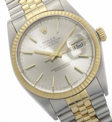 Rolex. A stainless steel and gold automatic calendar bracelet watchDatejust, Ref:16013, Serial No.9003***, Sold 7th April 1986