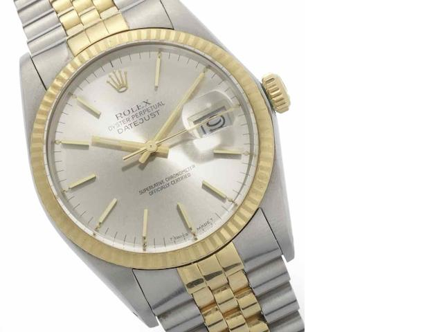 Rolex. A stainless steel and gold automatic calendar bracelet watch Datejust, Ref:16013, Serial No.9003***, Sold 7th April 1986