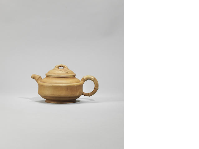 An Yixing bamboo-form teapot and cover Signed Gu Jingzhou, circa 1955