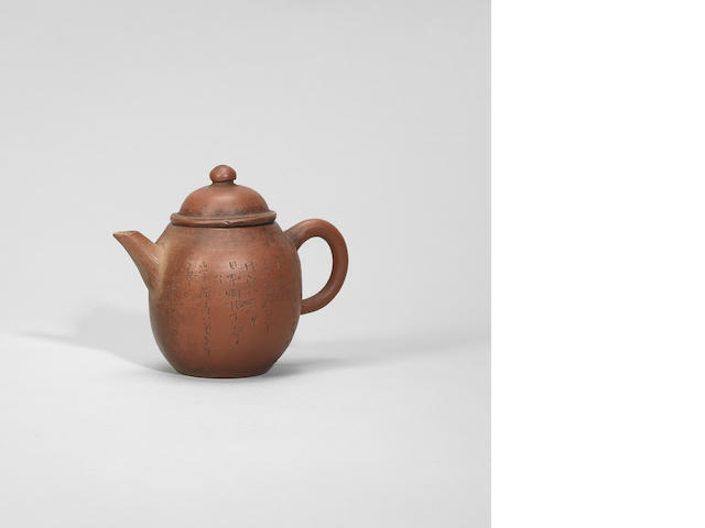 A small Yixing stoneware inscribed teapot and cover Guangxu, cyclically dated wuyi year corresponding to 1878, incised by Jin Shiheng