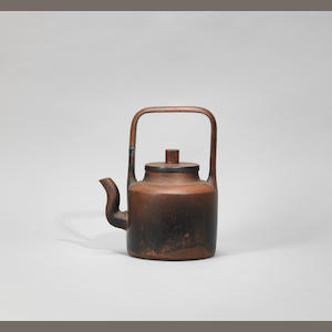 An overhead-handled teapot and cover  Ming dynasty