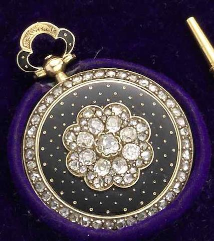 J.F. Bautte & Cie. A fine and rare 18ct gold and diamond set enamel open face pocket watch with matching keyCirca 1860