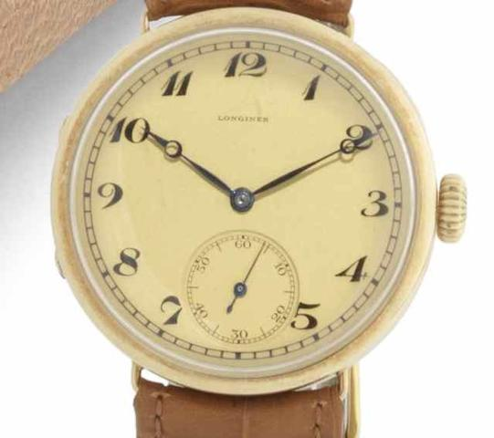 Longines. A rare 14ct gold manual wind oversized wristwatchCase and Movement No.3903056, Circa 1920
