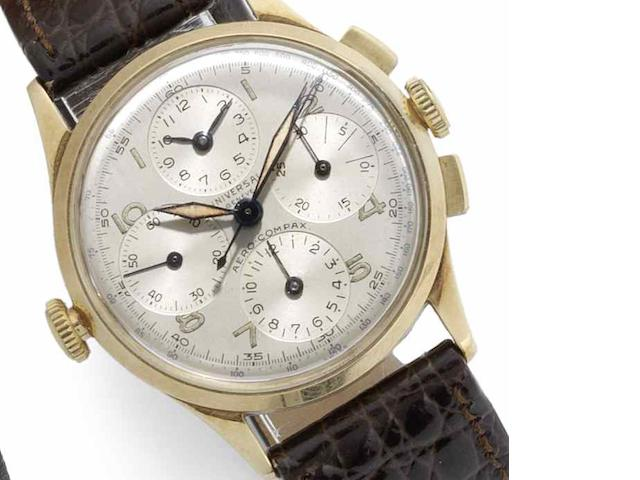 Universal. A 14ct gold manual wind chronograph wristwatch Aero-Compax, Circa 1945