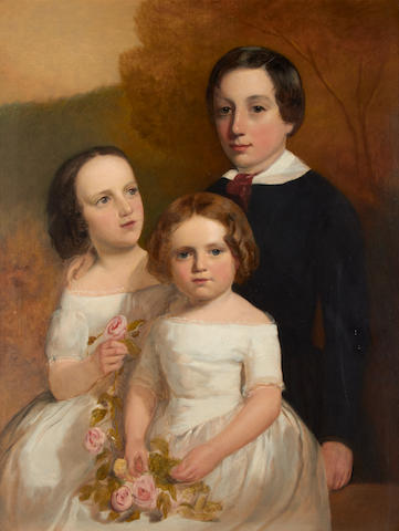 English School, 19th Century Portrait of a boy with his two sisters