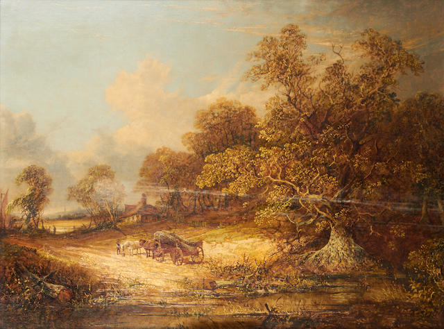 Attributed to John Paul (British, 19th Century) Wagon in a wooded landscape
