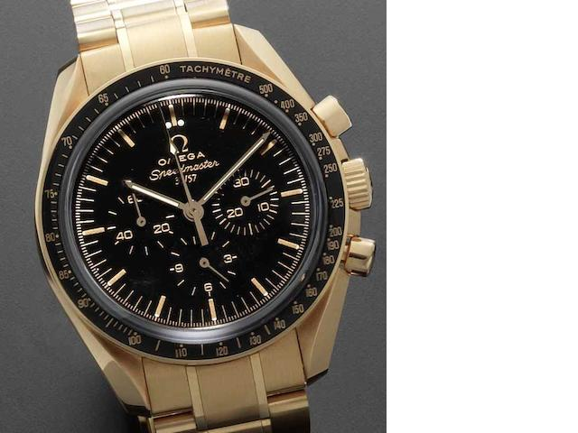Omega. A fine and rare 18ct rose gold automatic chronograph bracelet watch Speedmaster 50th Anniversary Limited Edition, 37/57, Sold in the Omega Boutique, Zurich 5th October 2007