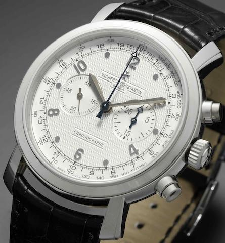 Vacheron Constantin. A fine 18ct white gold manual wind chronograph wristwatch together with fitted box and papers Malte Chronographie, Ref:R0022/08P, Sold 7th November 2006
