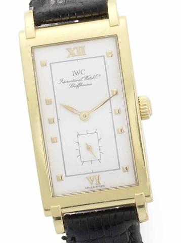 IWC. A fine 18ct gold manual wind wristwatch Circa 1980