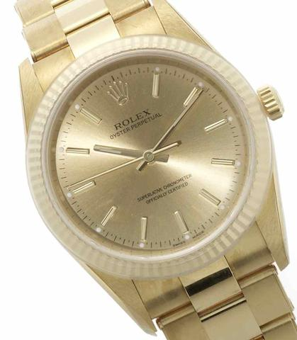 Rolex. An 18ct gold automatic bracelet watch Oyster Perpetual, Ref:14238M, Circa 2001