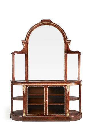 An early Victorian gilt metal mounted burr and figured walnut display cabinet
