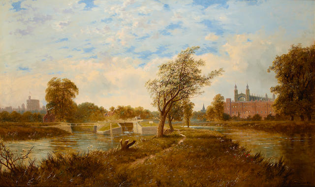 Edmund John Niemann (British, 1813-1876) View of Windsor Castle and Eton College