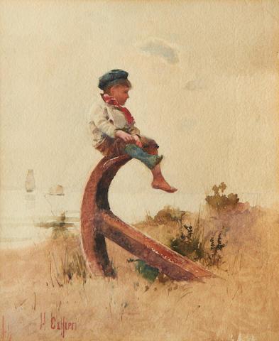 Hector Caffieri (British, 1847-1932) Boy perched on an anchor