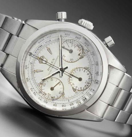 Rolex. A fine and historically interesting stainless steel chronograph wristwatch presented to Chris Conn by Rolex for Winning the 1963 Malaysia Grand PrixOyster Chronograph, Anti-Magnetic, Ref:6234, Case No.530***, Made in 1959
