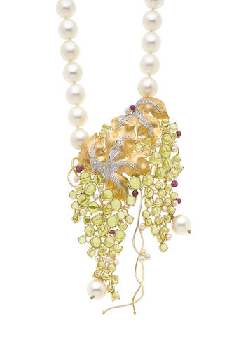 A cultured pearl, peridot, ruby and diamond pendant necklace (illustrated above)